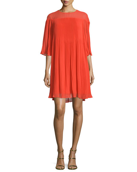 ERIN erin fetherston Savoy Half-Sleeve Pleated Cocktail Dress