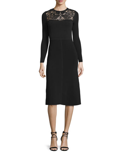 Long-Sleeve Macrame-Inset Dress, Black