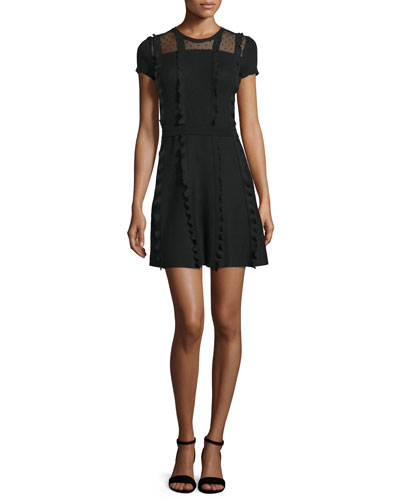 Short-Sleeve Point d'Esprit-Inset Dress, Black