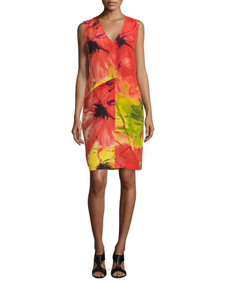 Natori Island Floral Sleeveless Dress, Multi Colors