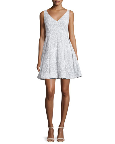 Coco Sleeveless V-Neck Embroidered Cocktail Dress