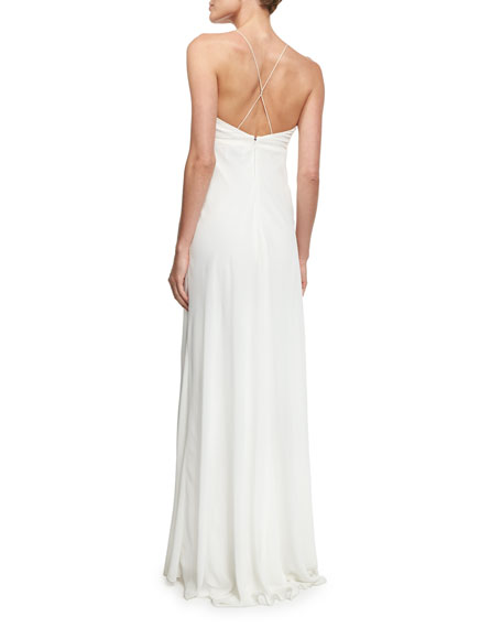 V-Neck Chiffon Empire-Waist Bias Gown, Ivory