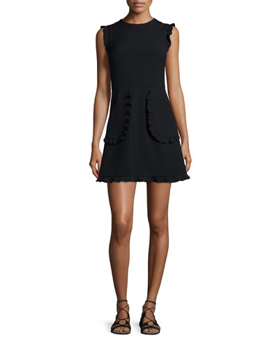 Sleeveless Ruffle-Trim Mini Dress, Black
