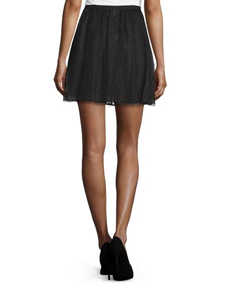 Point d'Esprit A-Line Skirt, Black