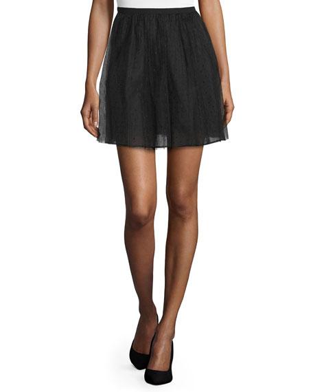 REDValentino Point d'Esprit A-Line Skirt, Black