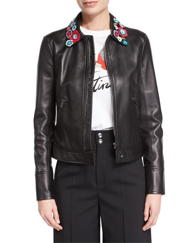 Leather Jacket with Flower Appliques