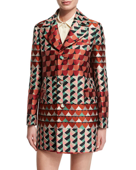 Geometric-Print Jacquard Topper Jacket, Rust