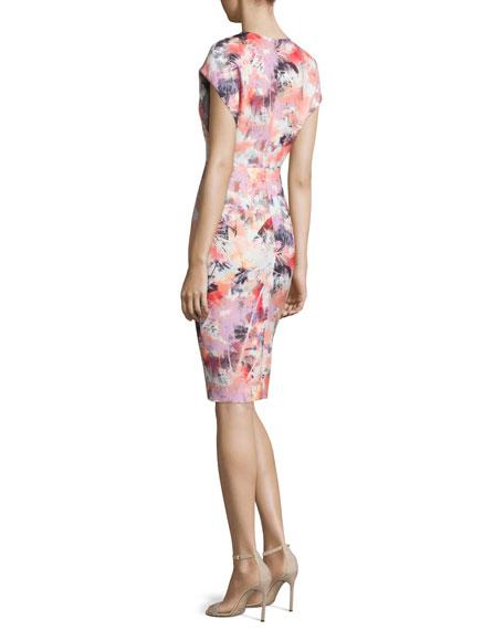 Cap-Sleeve Floral-Print Sheath Dress