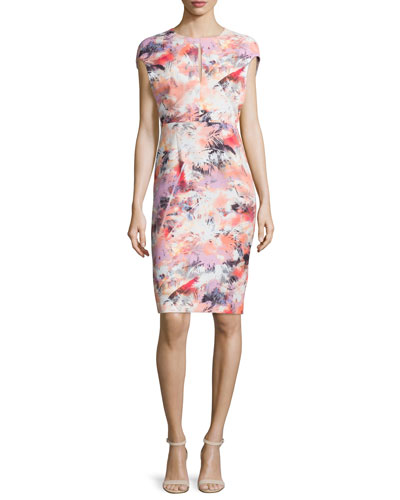 Cap-Sleeve Floral-Print Sheath Dress