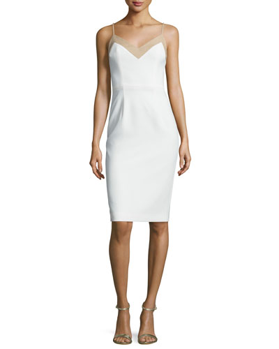 Sleeveless Sheath Dress w/ Contrast Piping