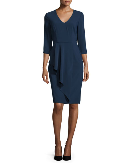 David Meister 3/4-Sleeve V-Neck Sheath Dress, Navy