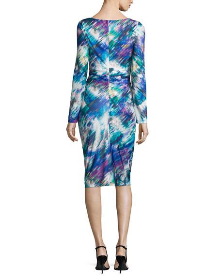 Long-Sleeve Printed Sheath Dress, Multi Colors