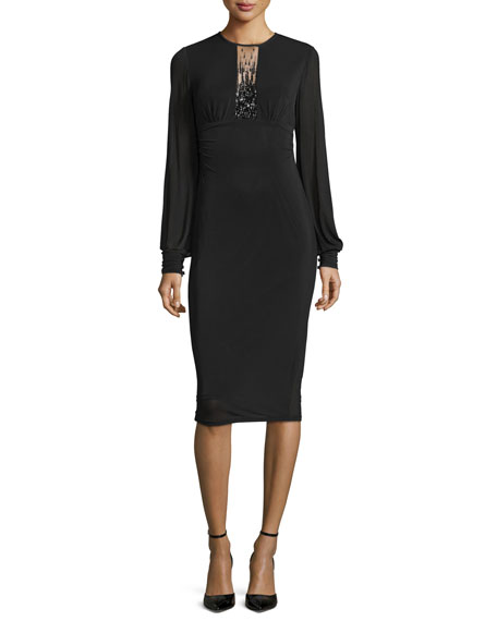 David Meister Long-Sleeve Beaded-Keyhole Sheath Dress