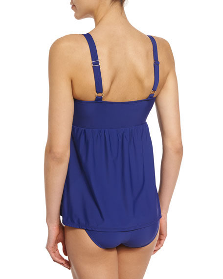 Cabana Solids Faux-Kini One-Piece Swimsuit, Available in D Cup