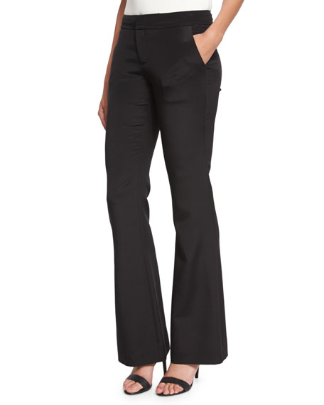 Haute Hippie Silk Satin Flare Pants, Black