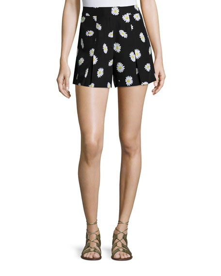 daisy dot silk-blend shorts, black