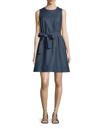 tie-waist denim fit & flare dress