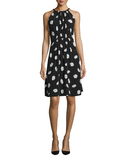 sleeveless daisy dot tie-back dress, black