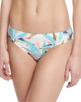 Birds of Paradise Ruched-Side Printed Swim Bottom