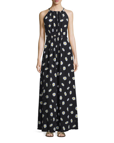 sleeveless daisy dot tie-back maxi dress, black