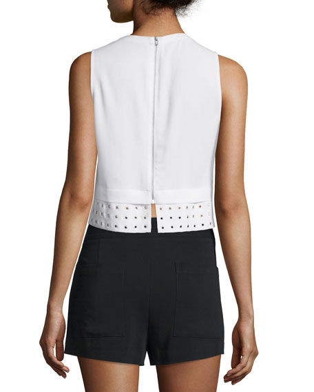 Henson Crepe Eyelet Crop Top, White