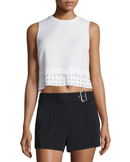 A.L.C. Henson Crepe Eyelet Crop Top, White
