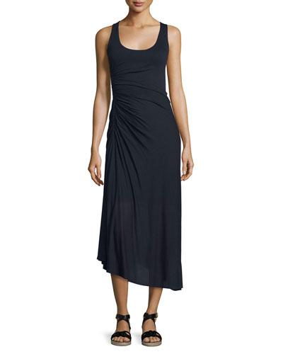 Lexie Ruched Silk Midi Dress, Midnight