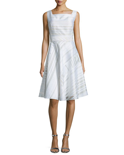 Sleeveless Striped Square-Neck Fit-&-Flare Dress, White