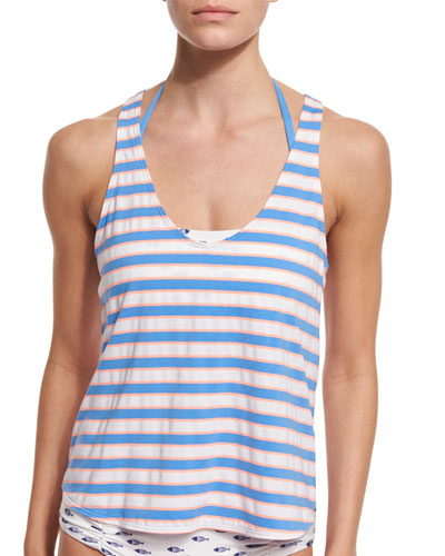 Cayman Striped Tankini Swim Top with Bandeau