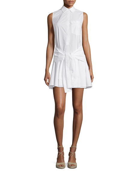 Derek Lam 10 Crosby Sleeveless Tie-Waist Poplin Shirtdress,