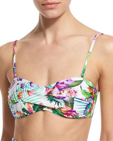 Floral-Print Bandeau Swim Top, Women's
