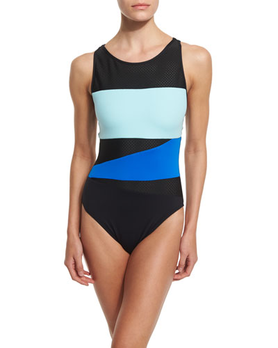 Technicolor Perforated One-Piece Swimsuit