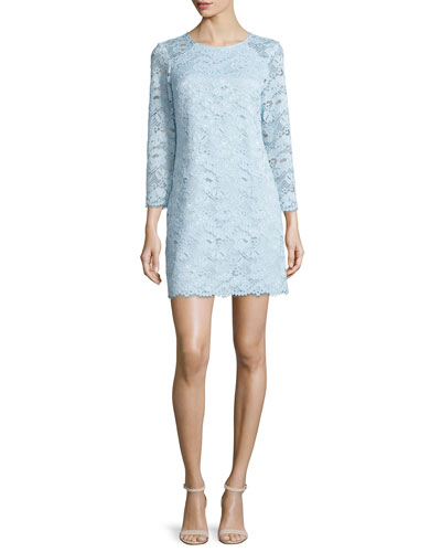 3/4-Sleeve Lace Shift Dress, Pale Blue