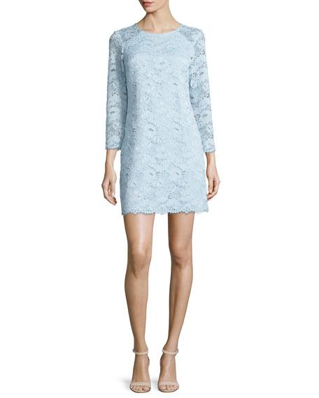 Shoshanna 3/4-Sleeve Lace Shift Dress, Pale Blue