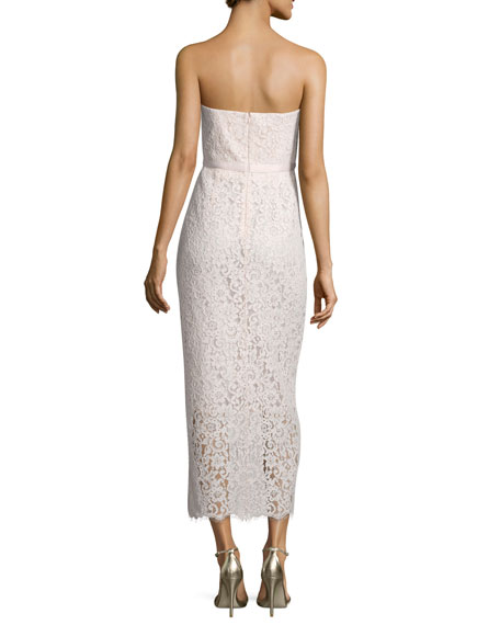 Strapless Sweetheart Lace Gown, Blush Pink