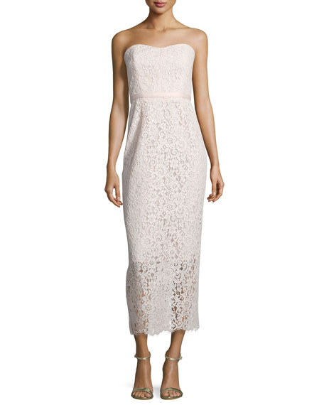 Shoshanna Strapless Sweetheart Lace Gown, Blush Pink