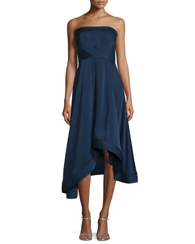 Strapless Satin Asymmetric Cocktail Dress