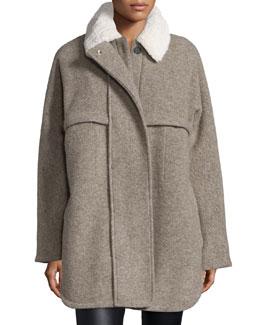 Morgane Long-Sleeve Layered Coat, Sand Khaki
