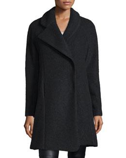Morgane Asymmetric-Collar Coat, Black