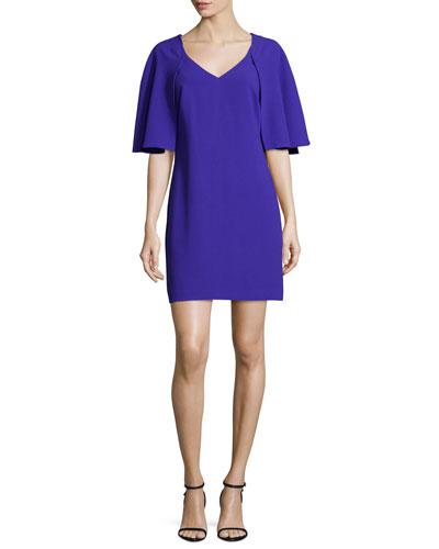 Cape-Sleeve Sheath Dress, Electric Purple