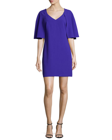 Trina Turk Cape-Sleeve Sheath Dress, Electric Purple