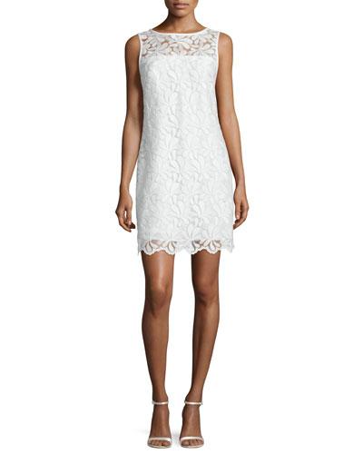 Sleeveless Lace Sheath Dress, Whitewash