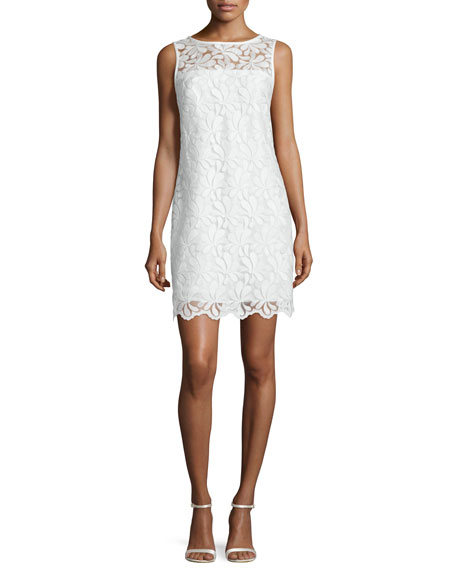 Trina Turk Sleeveless Lace Sheath Dress, Whitewash