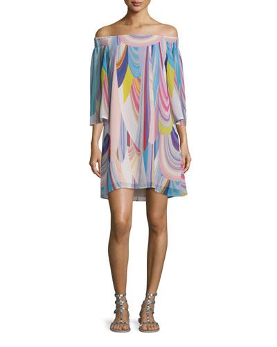 3/4-Sleeve Off-The-Shoulder Shift Dress, Multi Colors
