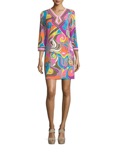 3/4-Sleeve V-Neck Shift Dress, Multi Colors