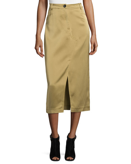 Opening Ceremony High-Waist Slim Midi Skirt, Camel