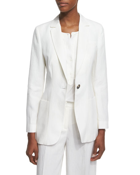 Peserico One-Button Linen Jacket, Pleated-Front Silk Shell &