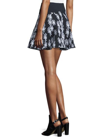 Scribble-Print Flare Skirt, Black/Multi