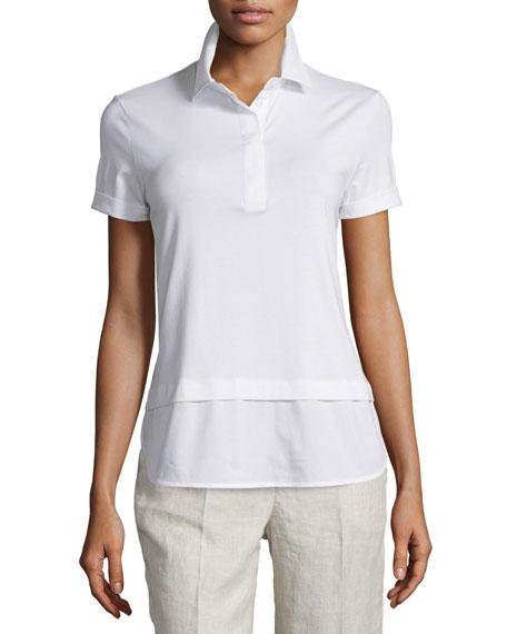 Peserico Short-Sleeve Shirttail Polo