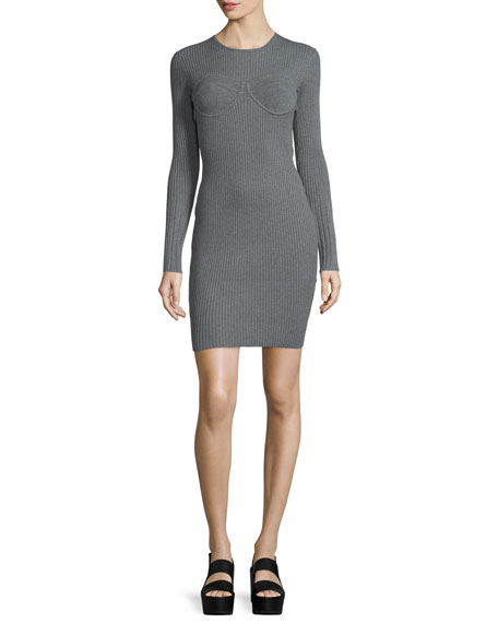 Opening Ceremony Long-Sleeve Corset-Style Dress, Gray